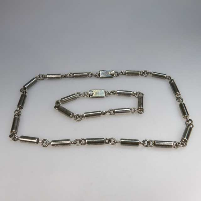 Mexican Sterling Silver Barrel Link Chain And Bracelet