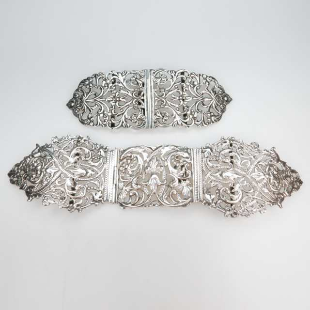 Two English Silver Belt Buckles