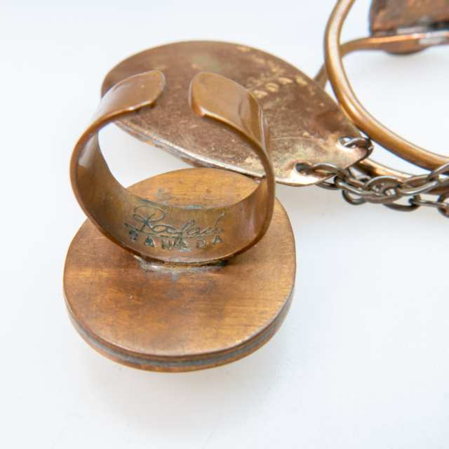 Rafael Alfandary Copper Necklace, Bracelet, And Ring