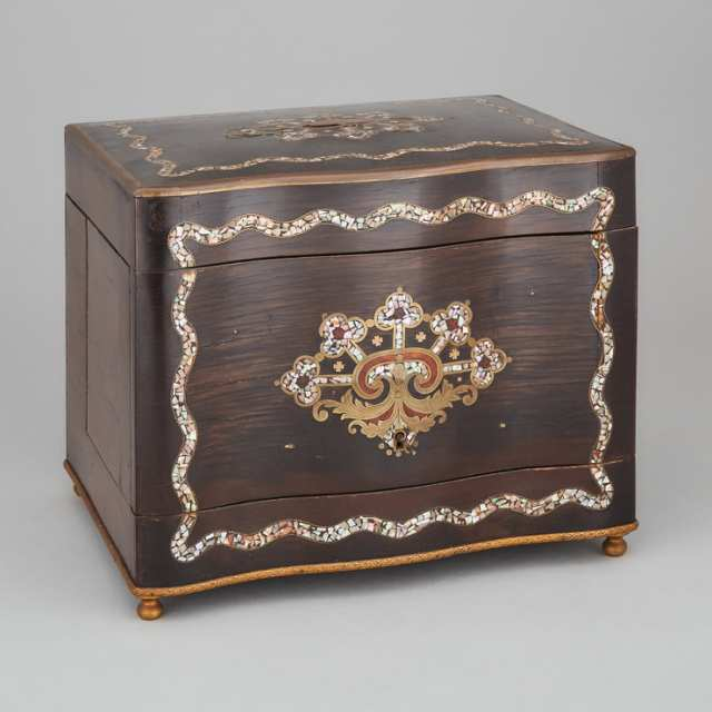 Napoleon III Abalone and Brass Inlaid Rosewood Cave à Liqueur, c.1870