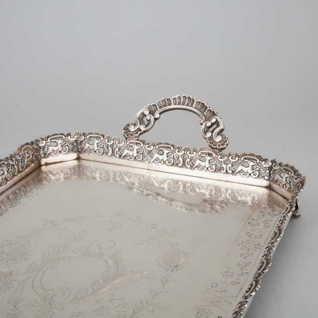 Portuguese Silver Two-Handled Tray, Porto, 20th century