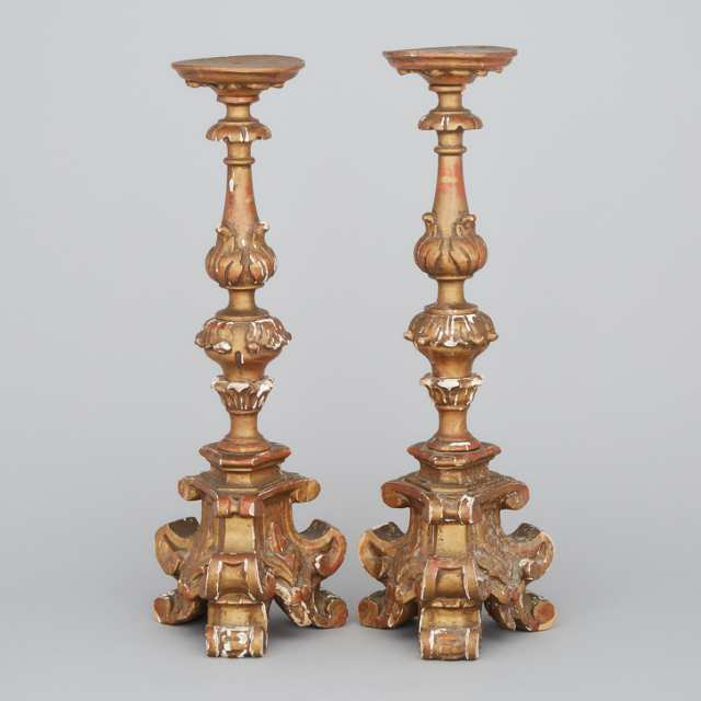 Pair of Italian Baroque Style Giltwood Candle Prickets, mid 20th century