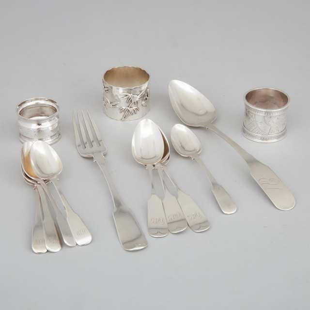 American Silver Napkin Ring, George Shiebler & Co. New York, N.Y., 1880s, together with Two Others and Ten Pieces of Fiddle Pattern Flatware, 19th century