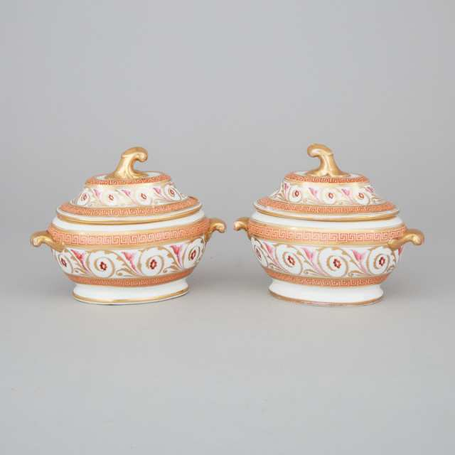 Pair of Coalport Oval Covered Sauce Tureens, c.1810