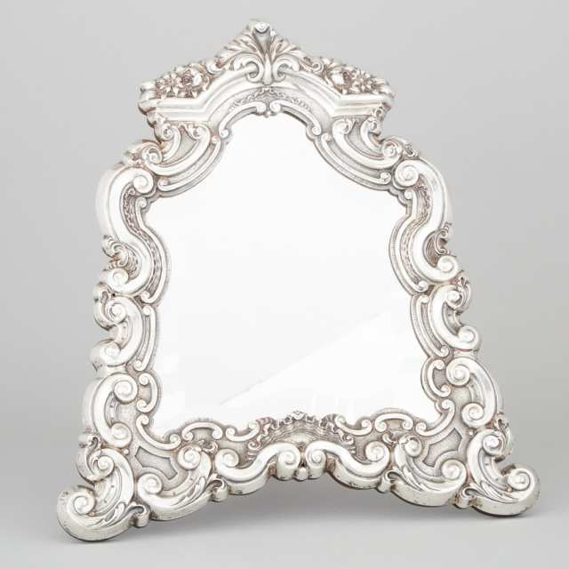 Portuguese Silver Framed Dressing Table Easel Mirror, 20th century