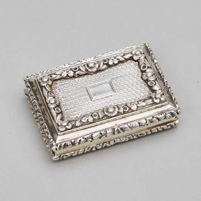 William IV Silver Vinaigrette, Nathaniel Mills, Birmingham, 1835