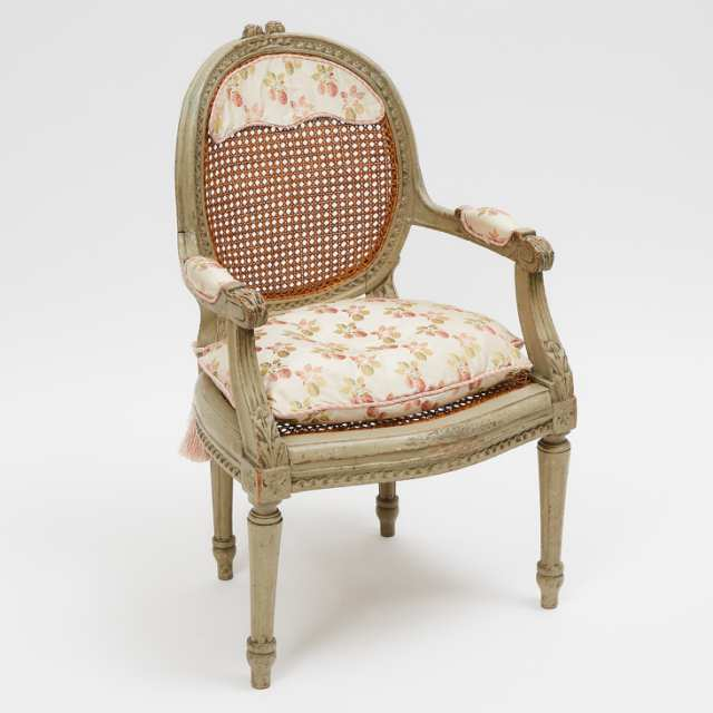 French Louis XVI Style Caned Child's Fauteuil, early 20th century
