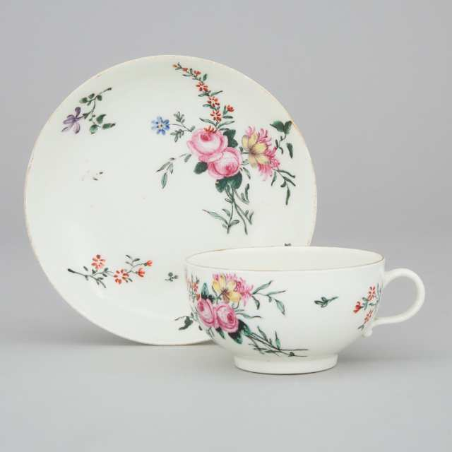 Worcester Polychrome Floral Decorated Cup and Saucer, c.1765-70
