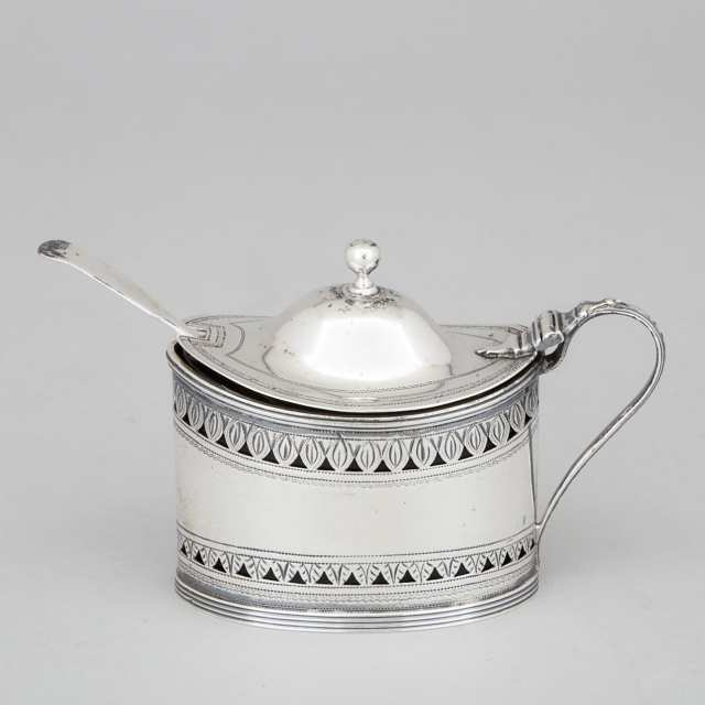 George III Silver Pierced and Engraved Oval Mustard Pot, Robert Hennell I, London, 1792