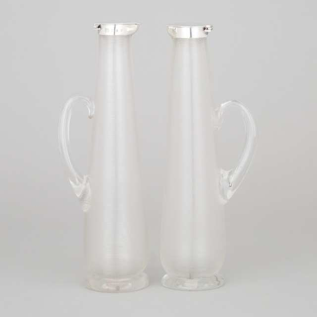 Pair of Victorian Silver Mounted Threaded Glass Jugs, Hukin & Heath, Birmingham, 1891