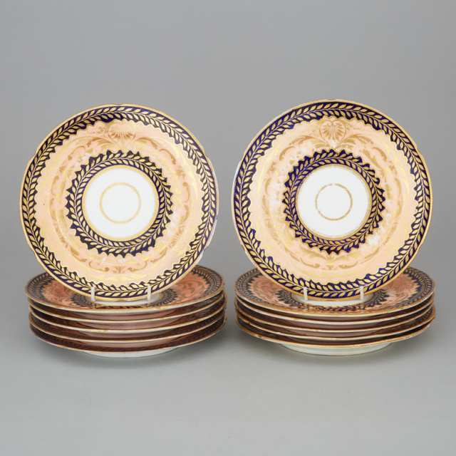 Twelve Coalport Apricot, Cobalt and Gilt Decorated Plates, early 19th century