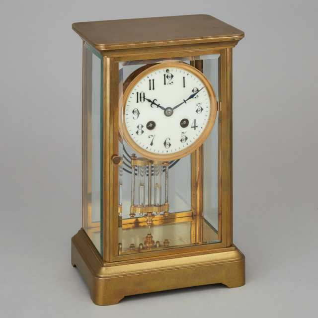 French Four Glass Panel Gilt Brass 'Crystal Regulator' Mantle Clock, c.1900