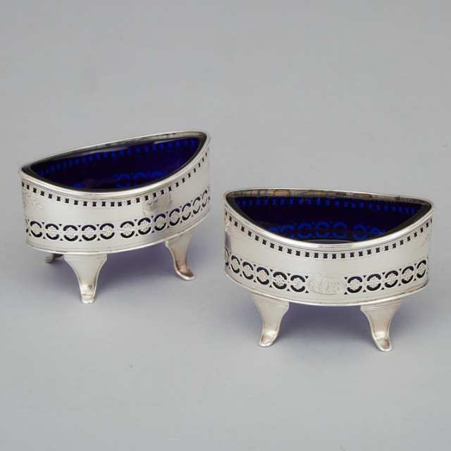 Pair of George III Silver Oval Salt Cellars, Nathaniel Smith & Co., Sheffield, 1801