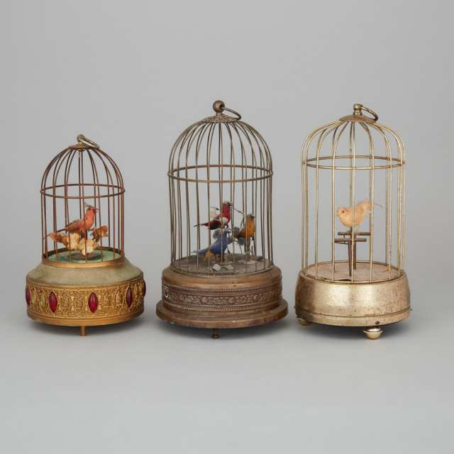 Group of Three Swiss or German Automaton Singing Birds in Cages, early-mid 20th century