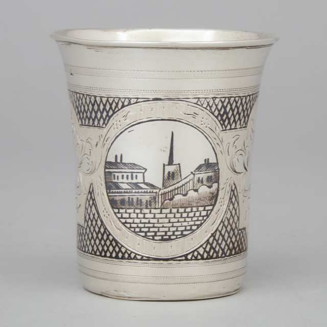 Russian Engraved and Nielloed Silver Beaker, Moscow, 1871