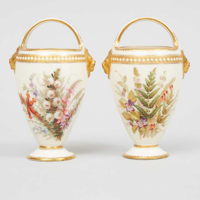 Pair of Royal Worcester 'Jeweled' Basket Vases, 1874