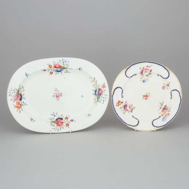 Derby Oval Platter and Plate, early 19th century