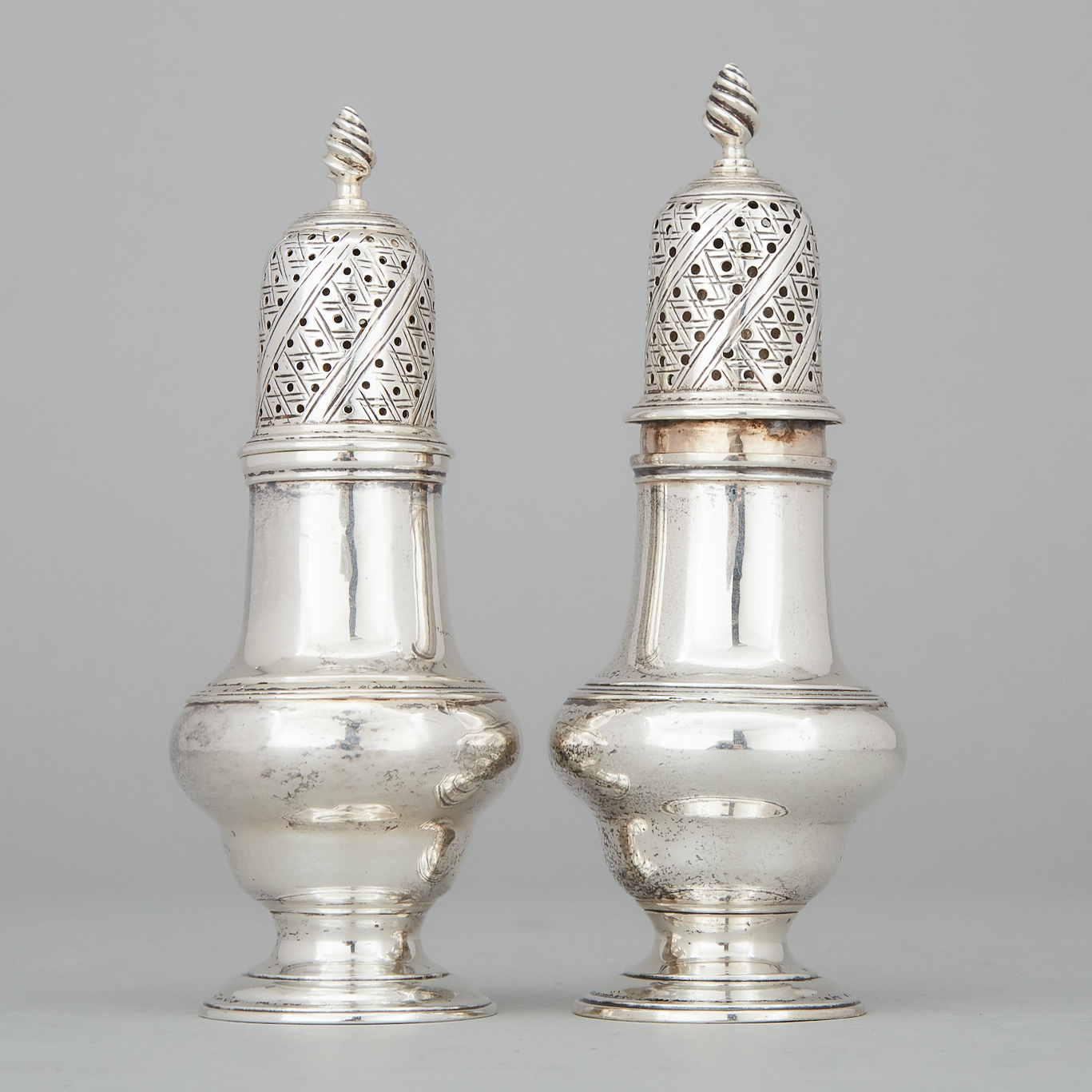 Pair of George III Silver Baluster Casters, London, 1766
