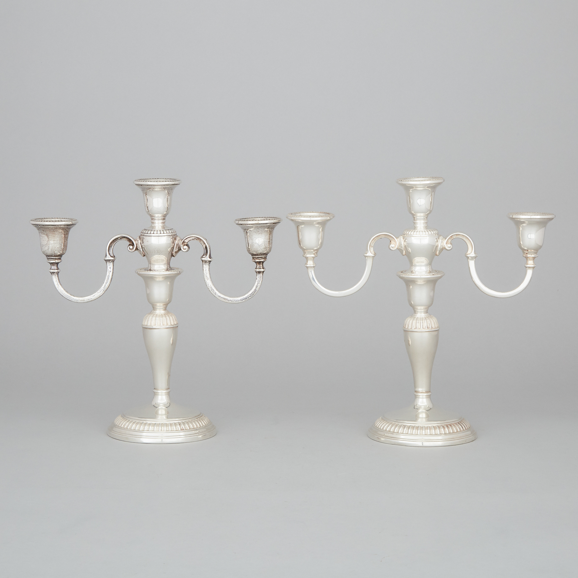 Pair of Canadian Silver Three-Light Candelabra, Henry Birks & Sons, Montreal, Que., 1964/70