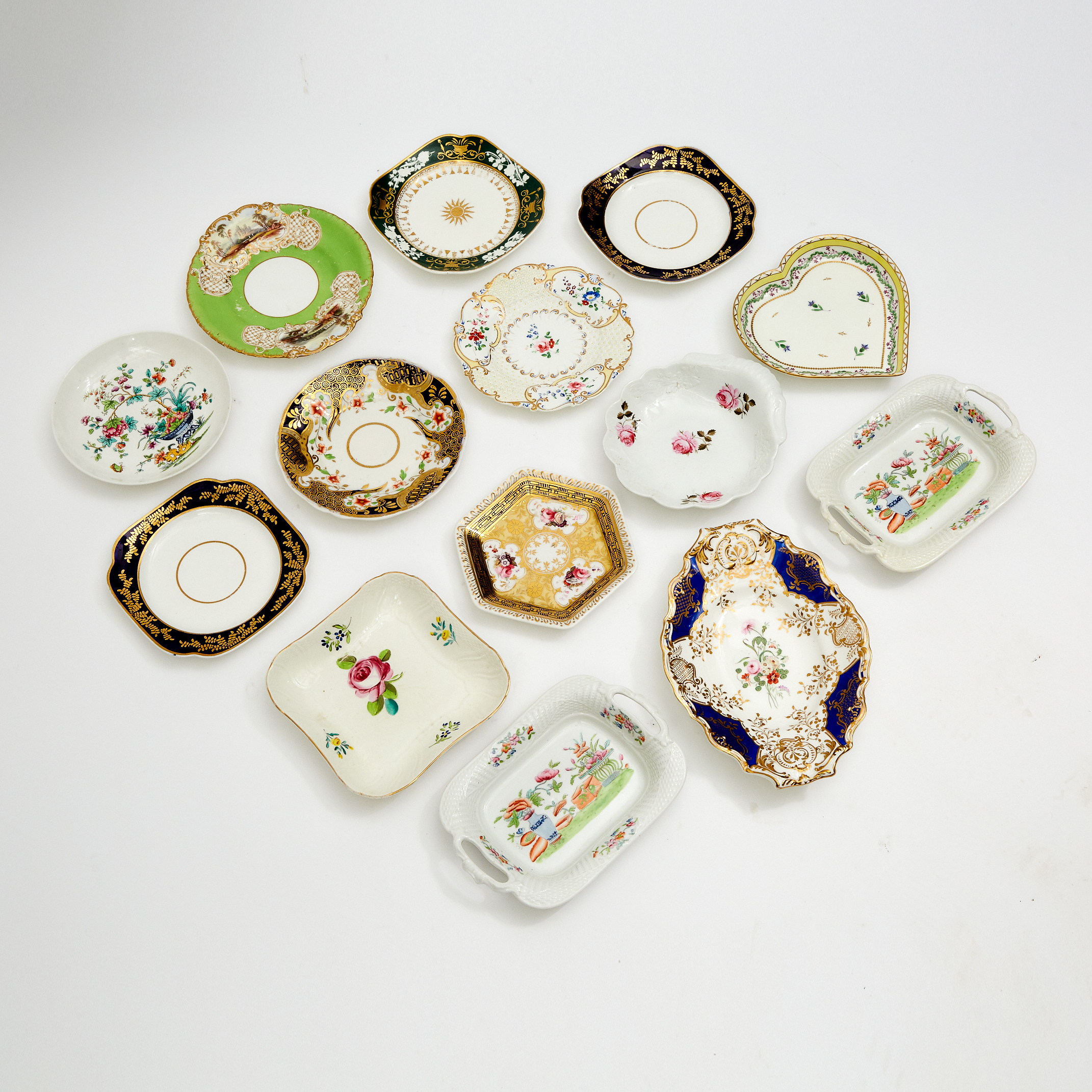 Fourteen Various English Porcelain Serving Dishes, 19th century