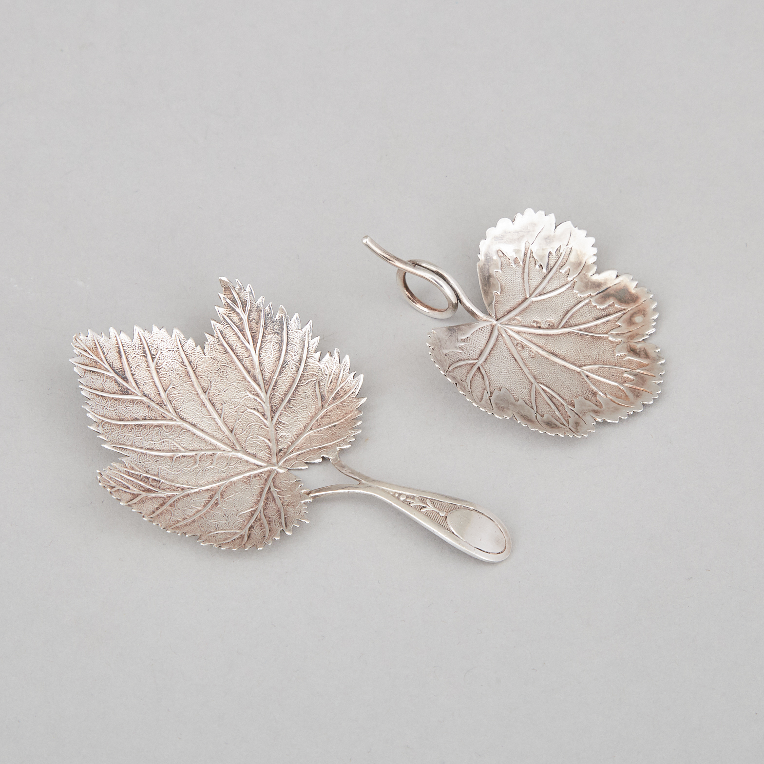 Two George III Silver Leaf Shaped Caddy Spoons, Matthew Linwood, Birmingham, 1807/08