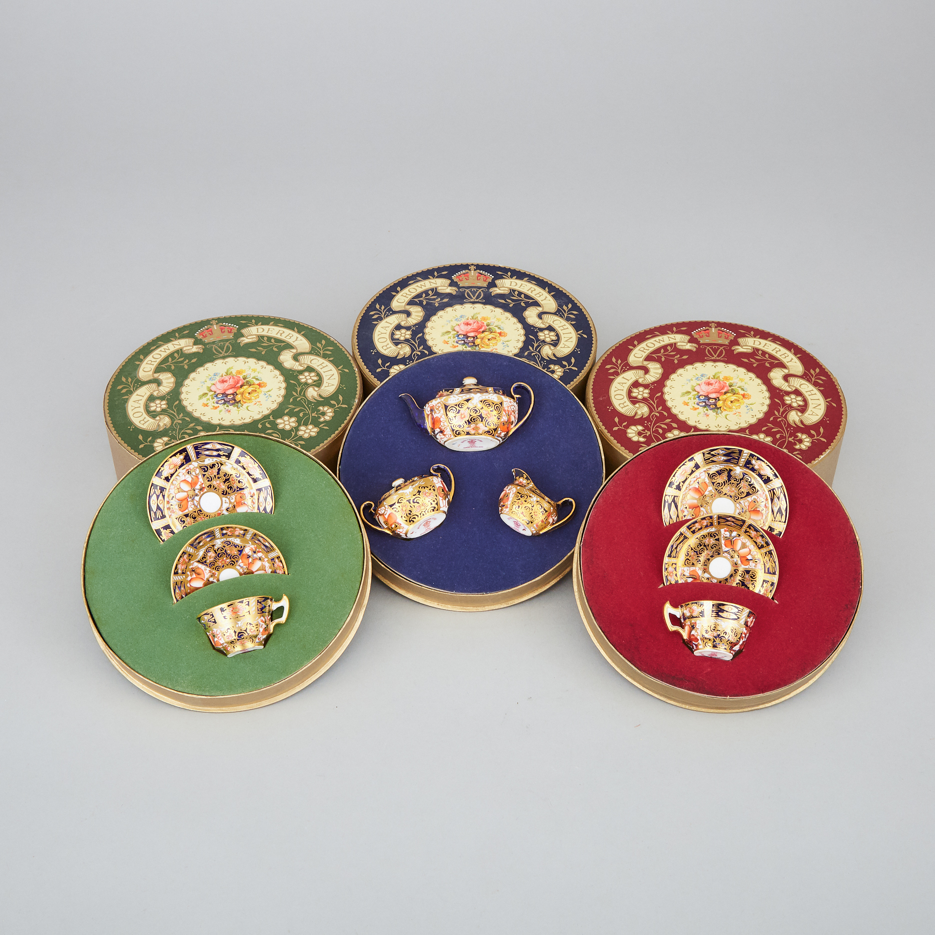 Royal Crown Derby 'Imari' (2451) Pattern Miniature Three-Piece Tea Service, Two Cups and Saucers and Two Plates, 20th century