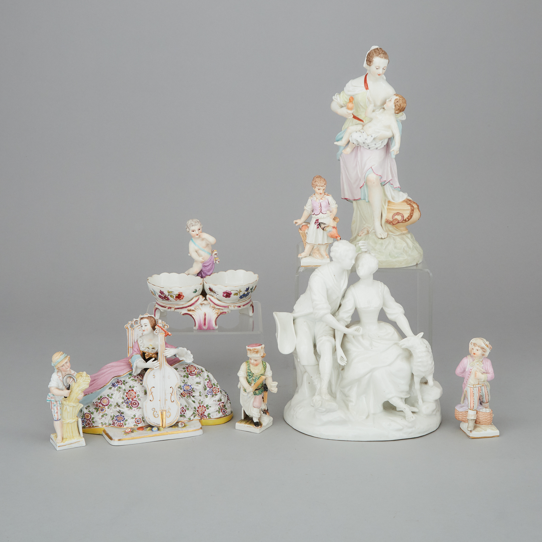 Eight Berlin and Other German Porcelain Figures and Groups, 19th/20th century