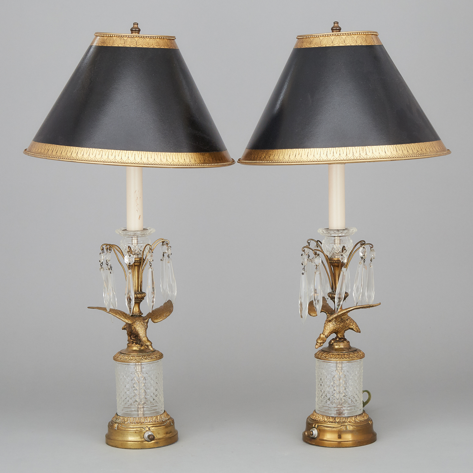 Pair of Austrian Cut Glass Mounted Ormolu Candlestick Lamps, mid 20th century
