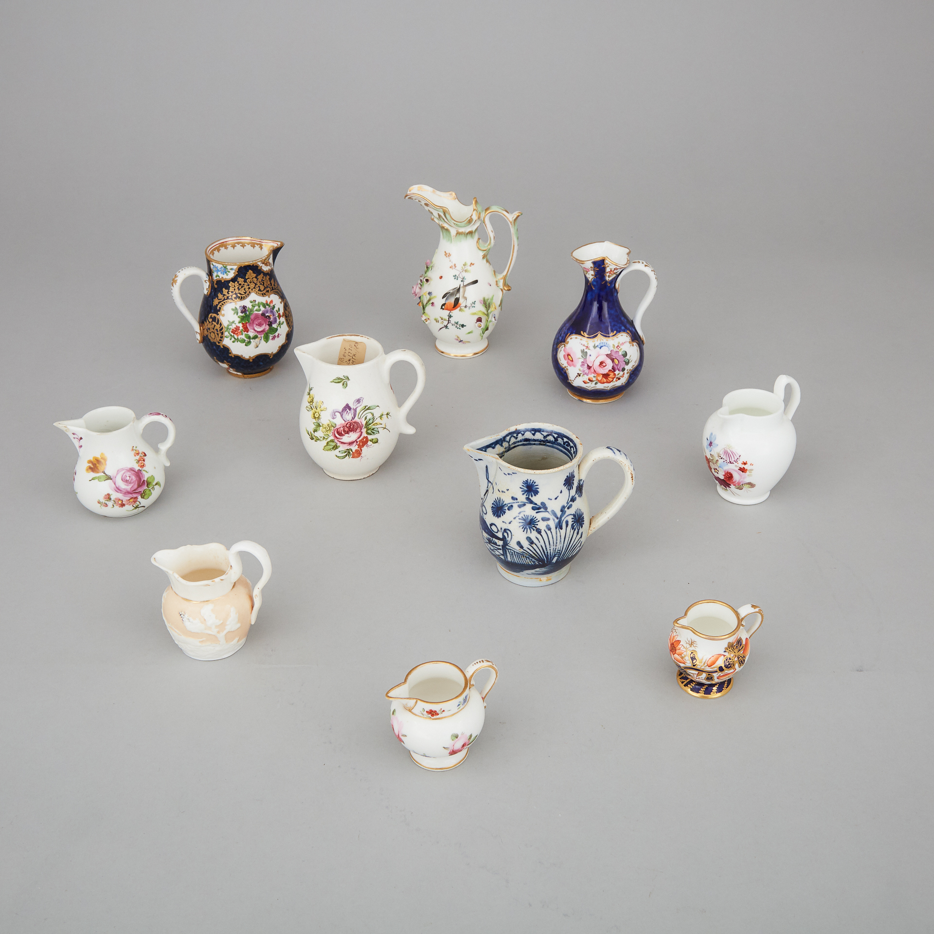 Ten English and Continental Porcelain and Pottery Small Cream Jugs, 19th century