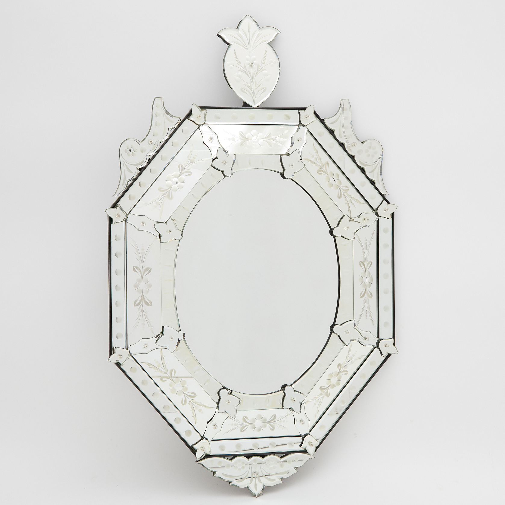 Venetian Etched Glass Mirror-Framed-Mirror, 20th century