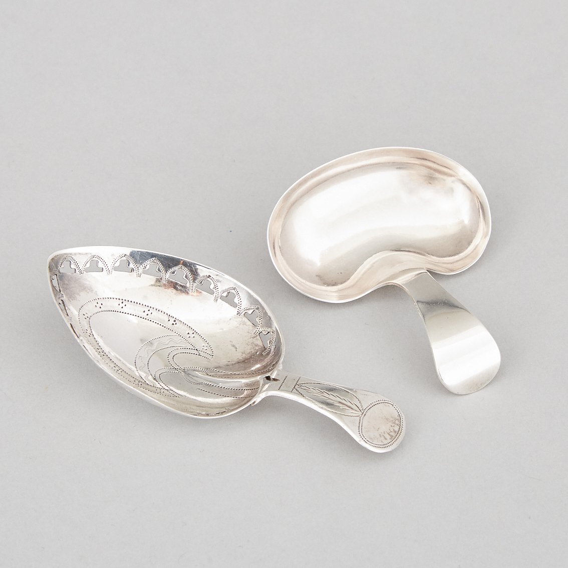 Two George III Silver Heart or Kidney Shaped Caddy Spoons, Joseph Taylor and Cocks & Bettridge, Birmingham, 1807/10
