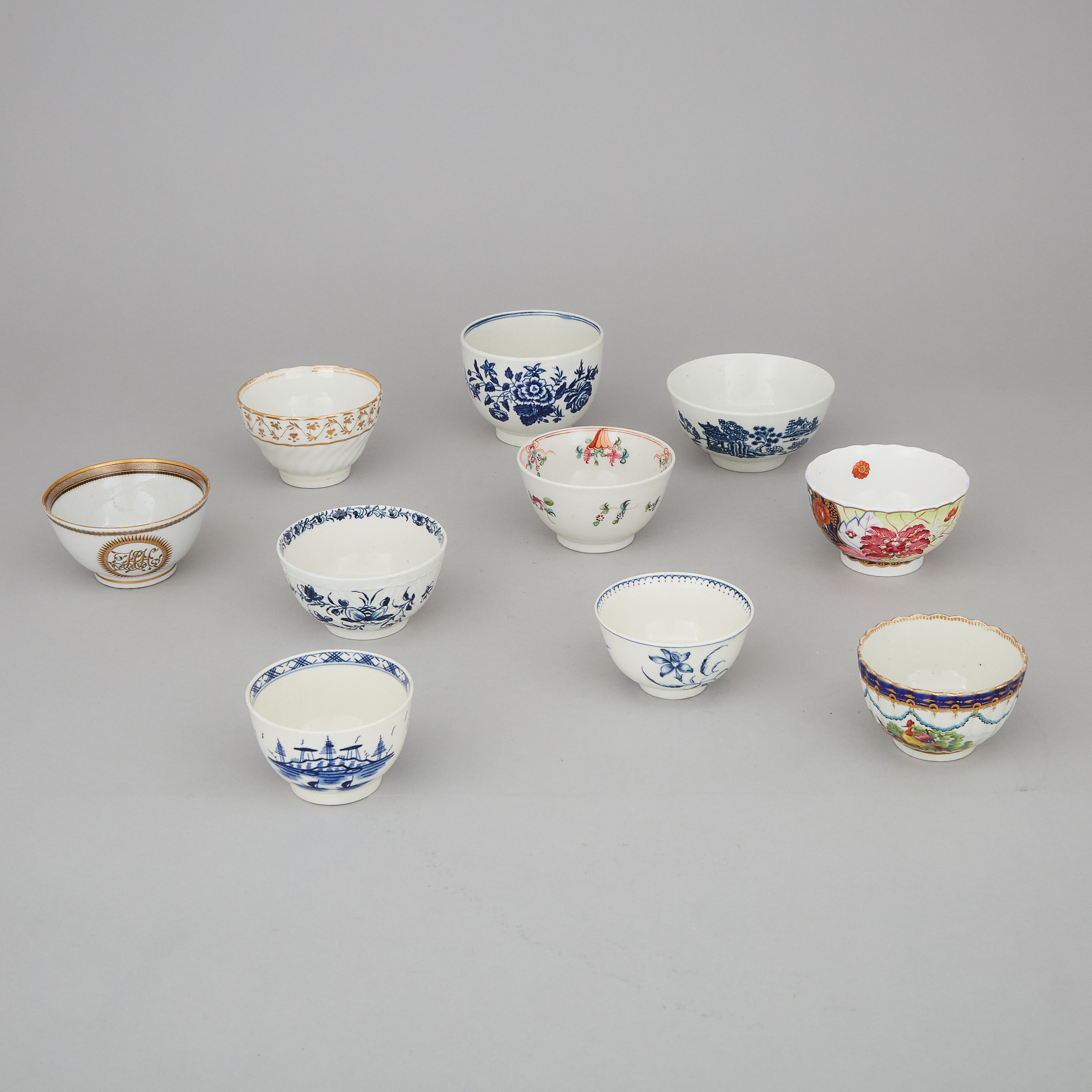 Ten Mainly English Porcelain Tea Bowls and Sugar Basins, late 18th/ early 19th century