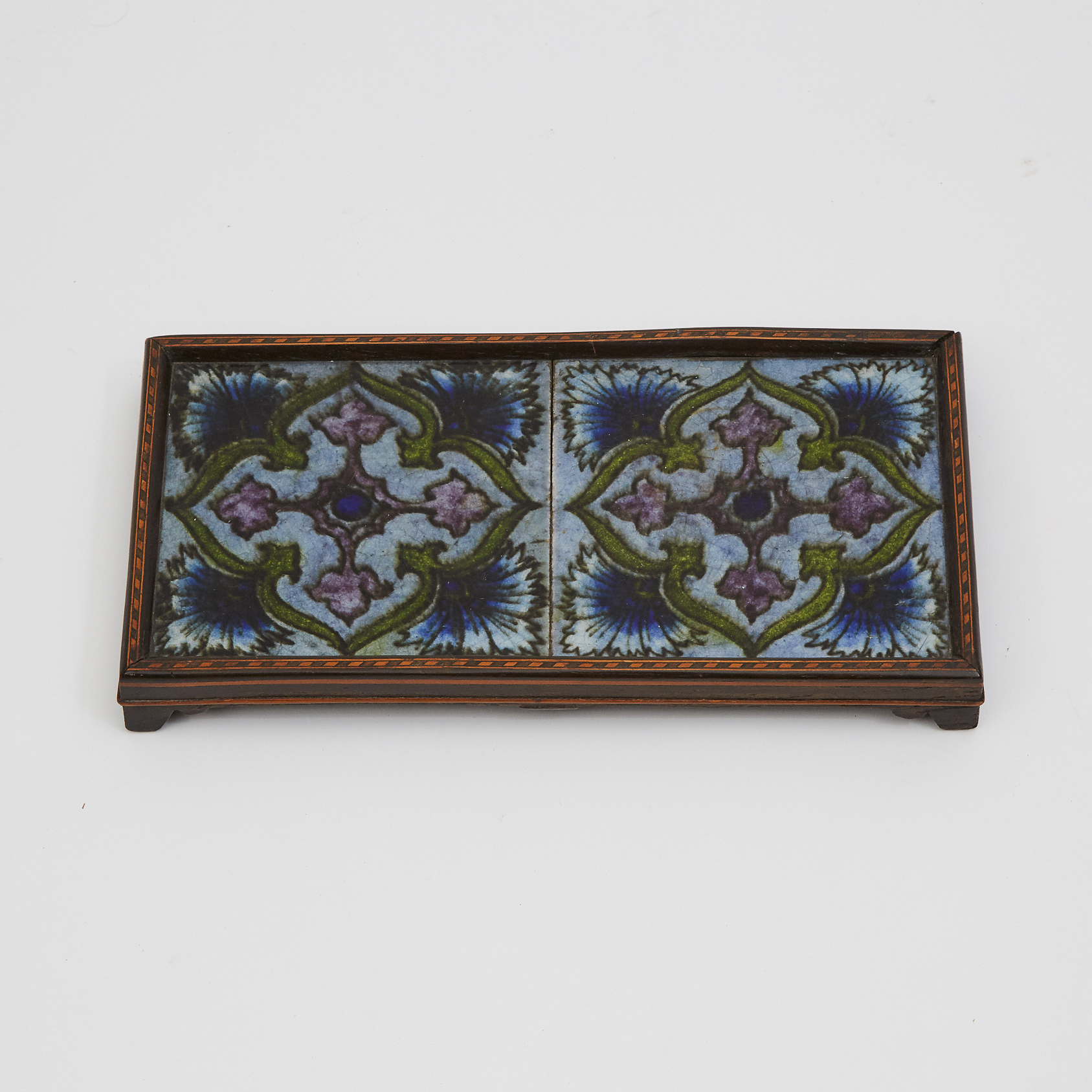 English Pottery Two-Tile Trivet, possibly William de Morgan, late 19th century