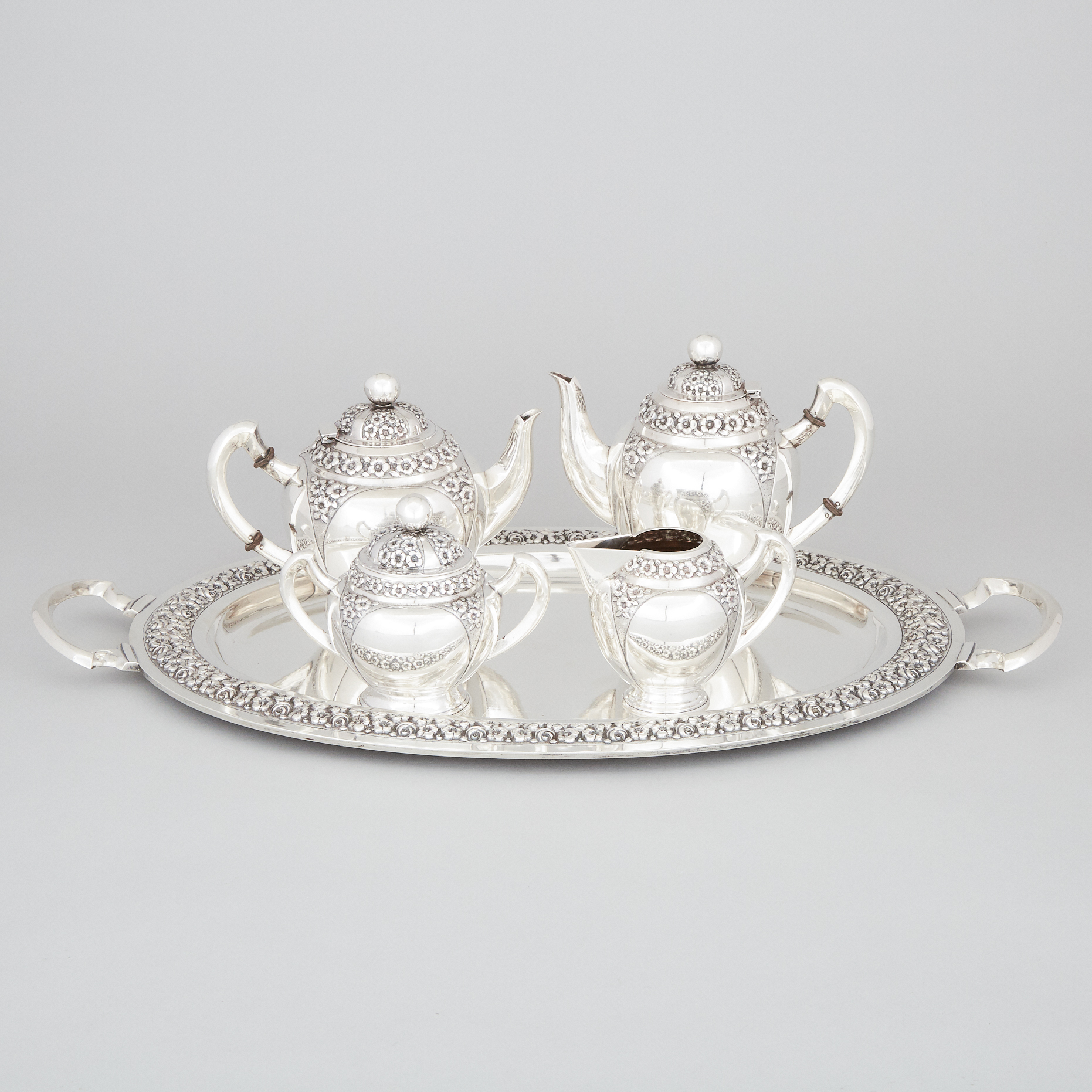 Portuguese Silver Tea and Coffee Service, Porto, 20th century