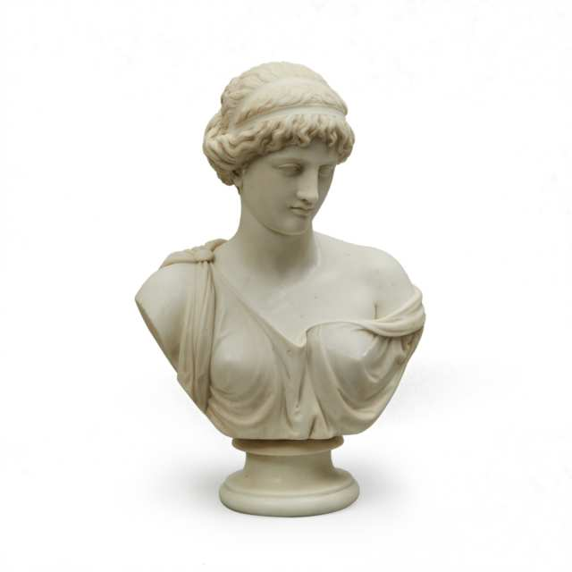 After the Ancient Italian White Marble Bust of a Goddess, 19th century