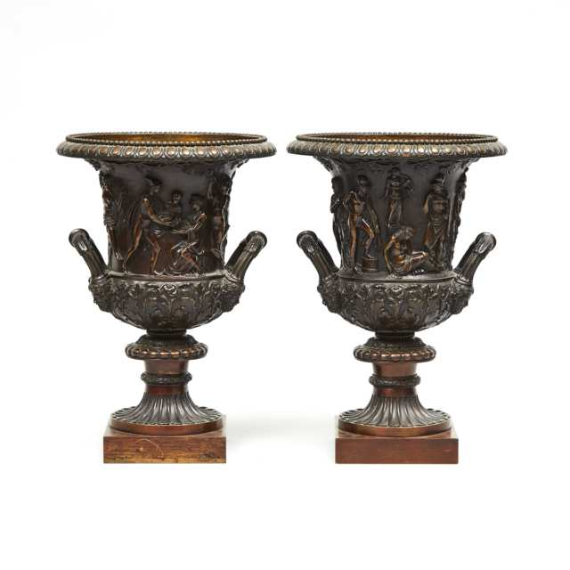 Pair of Italian Bronze Models of the Medici and Borghese Campana Vases, c.1900