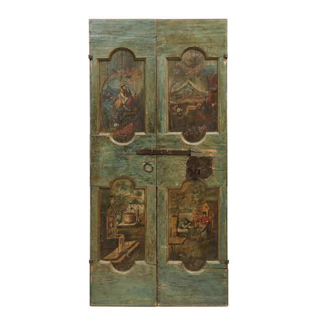 Pair of Venetian Painted Panelled Double Doors, 18th century