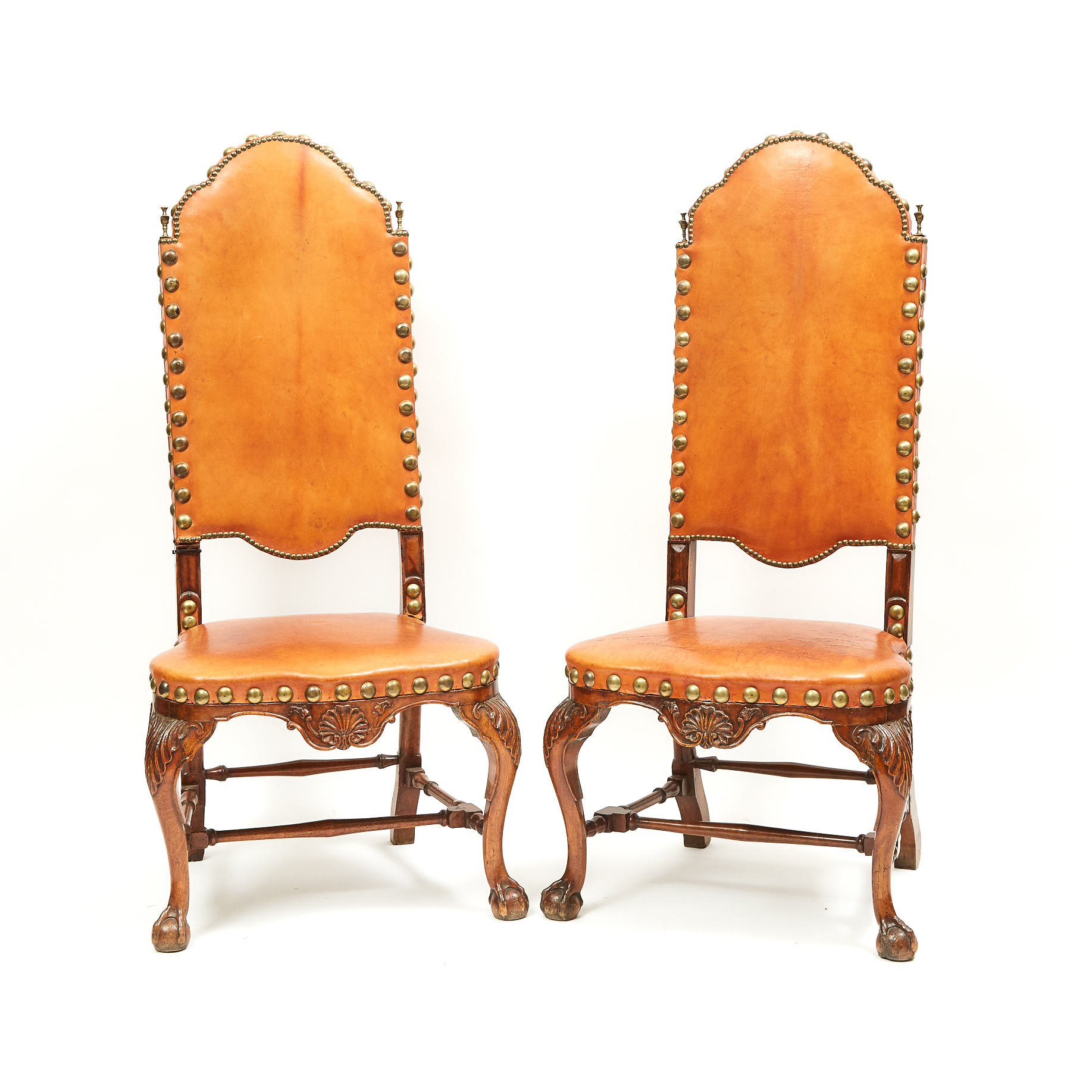 Pair of George I Style Walnut Side Chairs, 19th century