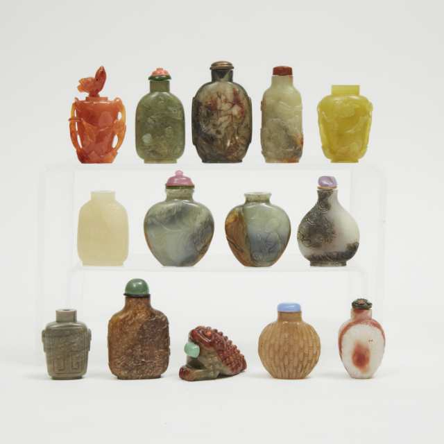 A Group of Fourteen Hardstone Snuff Bottles