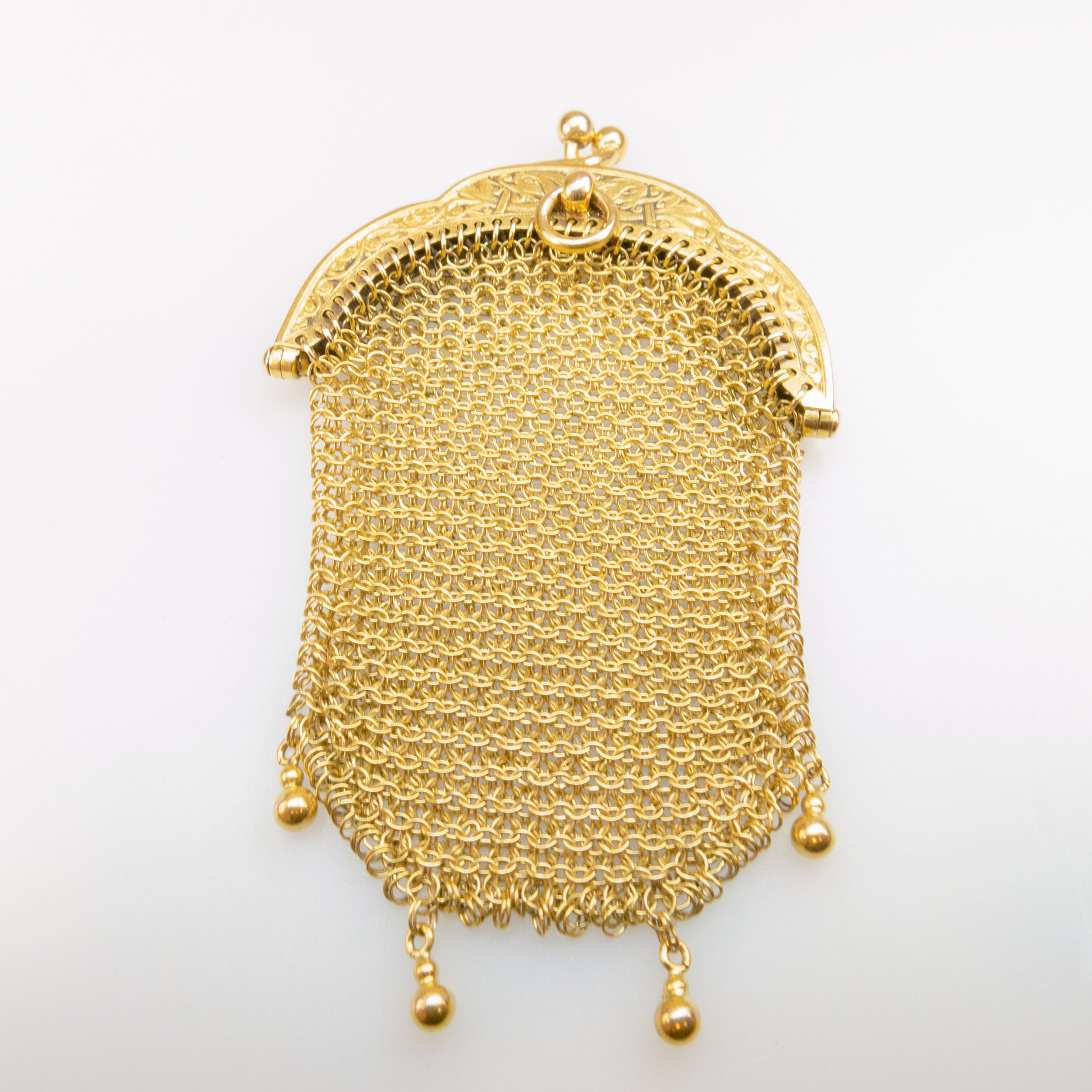French 18k Yellow Gold Mesh Coin Purse