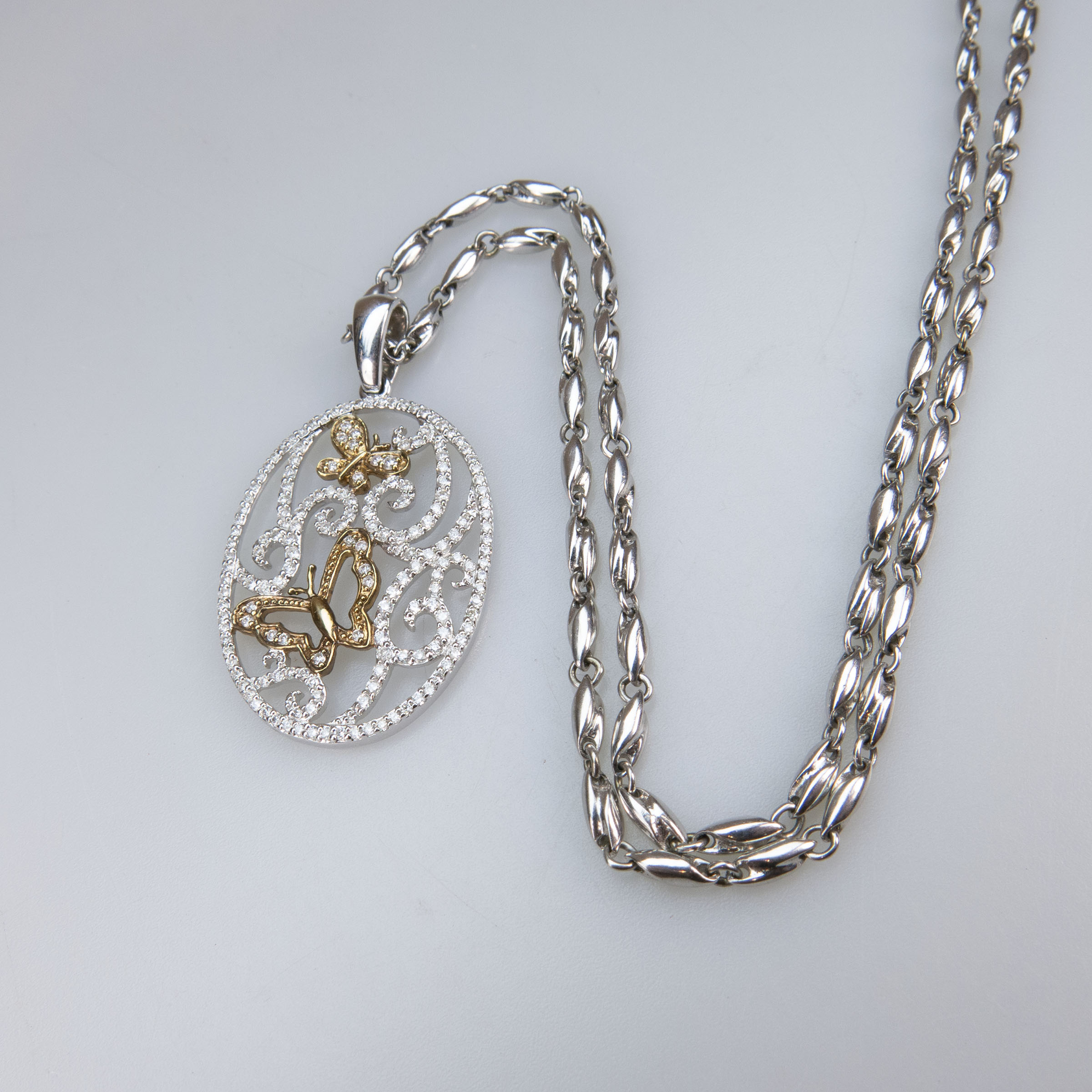 14k White And Yellow Gold Oval Pendant