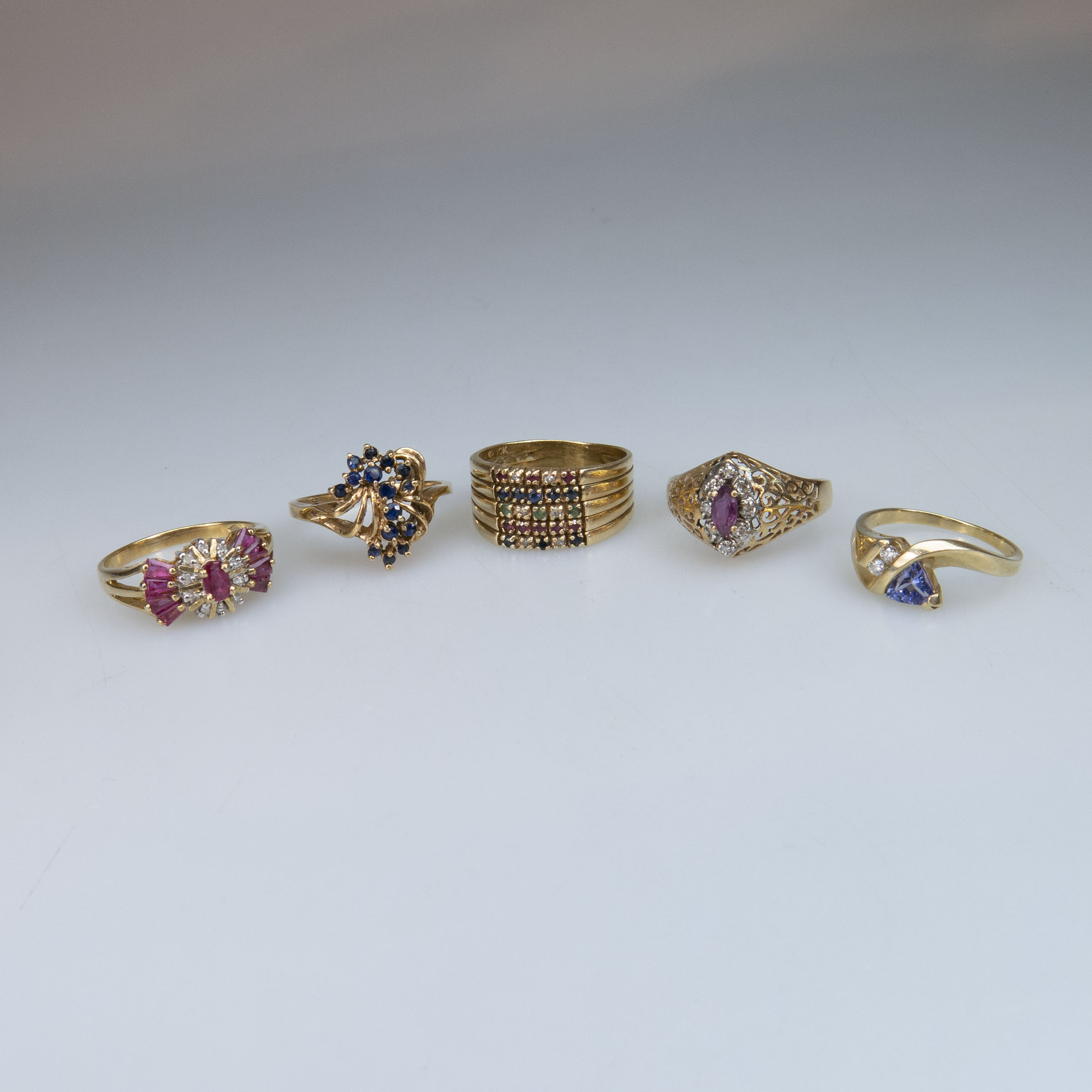 5 x 10k Yellow Gold Rings