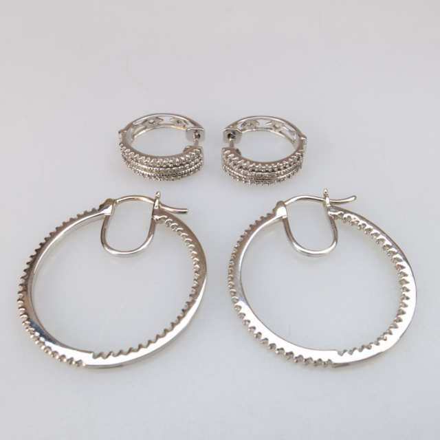 2 Pairs Of 14k White Gold Earrings