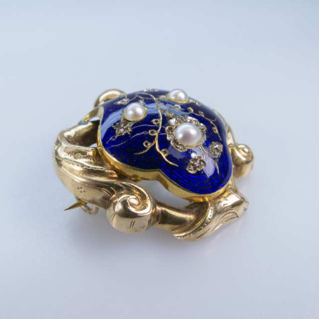 19th Century Russian 14k Yellow Gold Brooch