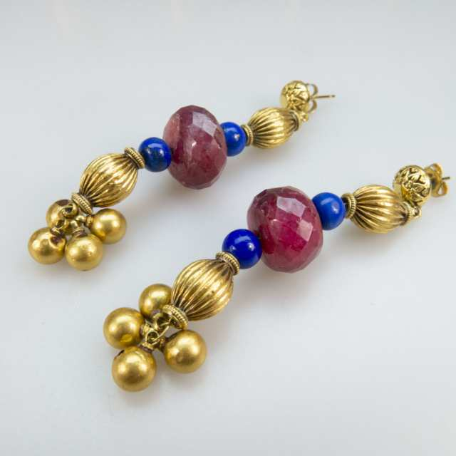 Gold And Gold-Plated Bead Necklace And Earrings