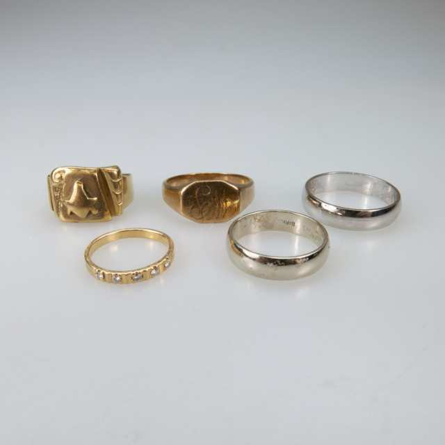 2 x 10k & 3 x 14k Gold Rings And Bands