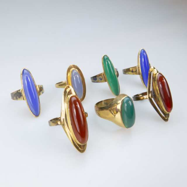 7 x 14k Yellow Gold Rings