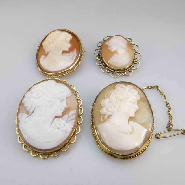 Four Oval Carved Shell Cameos