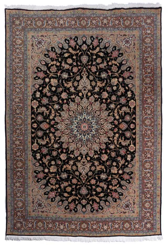Tabriz Wool and Silk Carpet, Persian, late 20th century