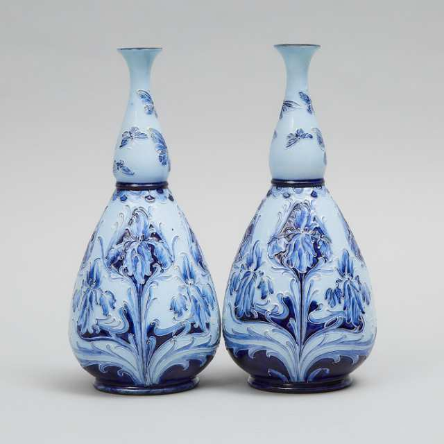Pair of Macintyre Moorcroft Florian Iris and Butterfly Vases, c.1900